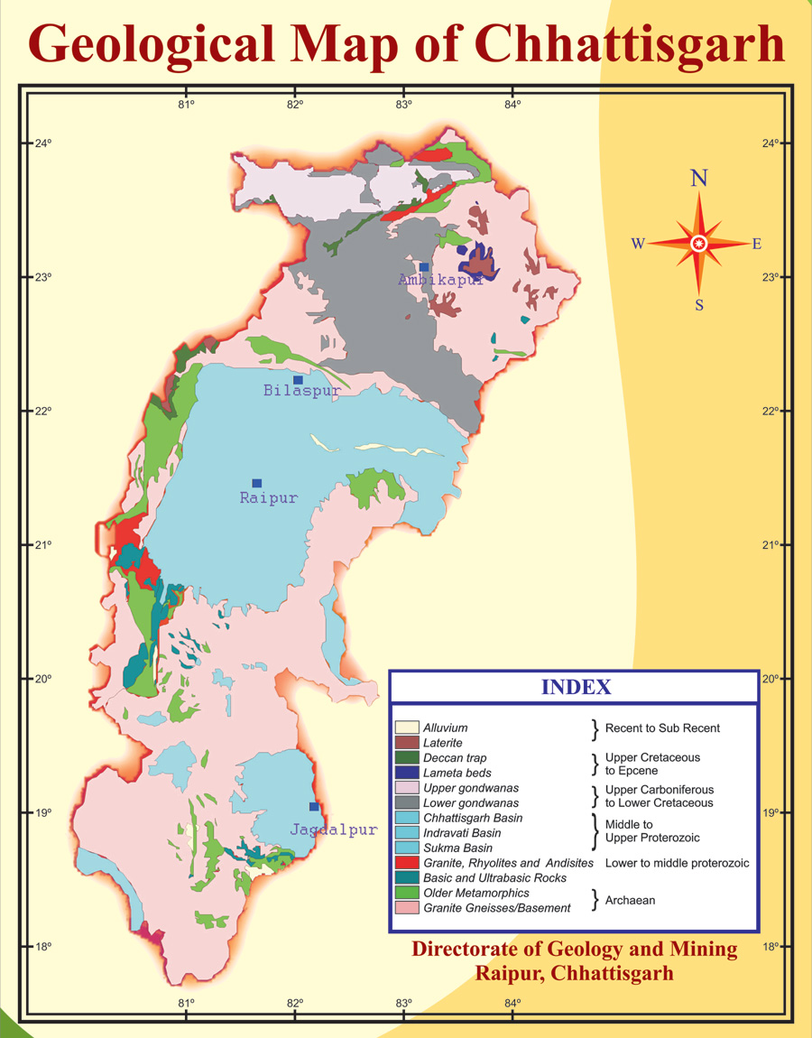 Geological Map Of India.Map Official Website Of Mineral Resources Department Chhattisgarh